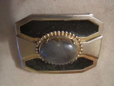 Men's dress belt buckle gold and black with stone