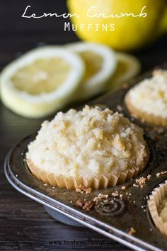 Soft, moist muffins flavored with lemon. The crumb topping is amazing!
