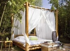 Bamboo outdoor furniture - Bamboo furniture is a lovely addition to any house and if you put it on the porch or in your bedroom, you must know how to take care Outdoor Bedroom, Outdoor Daybed, Outdoor Retreat, Outdoor Spaces, Outdoor Living, Daybed Canopy, Canopy Curtains, Canopy Tent, Wood Daybed