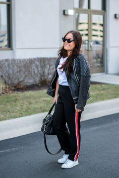 black pants red stripe, stan smith adidas, leather jacket, www.elabobak.com
