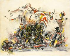 "Jackson Pollock - War, 1947. Ink and coloured pencil on paper  From the Metropolitan Museum of Art, NYC:    Pollock's famous ""War"" is the only drawing he ever titled, and, although inscribed ""1947,"" it relates to the iconographically complex images he produced earlier, around 1943–44. In this composition, the monstrous destruction of war is conveyed both by the fierceness of the graphic execution and by the imagery, much of which is camouflaged by the many linear motio"