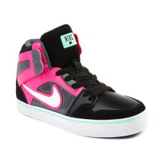 Shop for Youth Nike Ruckus Hi Athletic Shoe in Black Pink at Journeys Kidz. Shop today for the hottest brands in mens shoes and womens shoes at JourneysKidz.com.Fresh new skate-inspired high top from Nike, the Ruckus Hi offers sick style with unbeatable lightweight durability. Features include a durable synthetic upper with bold neon accents, reinforced toe with double stitch detailing, padded collar and tongue, cushioned insole, and vulcanized rubber outsole.