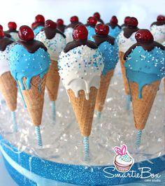 Ice cream cake pops, frozen theme. Blue and white Cake Pops - SmartieBox Cake Studio