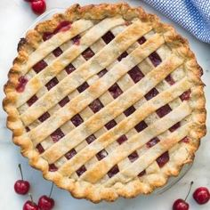 Homemade cherry pie with fresh or canned cherries. | tastesbetterfromscratch.com