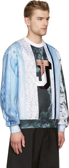 Juun.J White & Blue Neoprene Multi-Print Collage Logo Sweatshirt