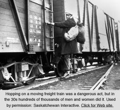 """Many teenagers became hoboes and were forced to """"Ride the Rails"""" looking for work availability and places to beg for food."""