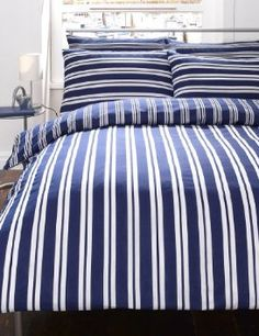 NAVY BLUE & WHITE STRIPED DOUBLE DUVET COVER BED SET: Amazon.co.uk: Kitchen & Home