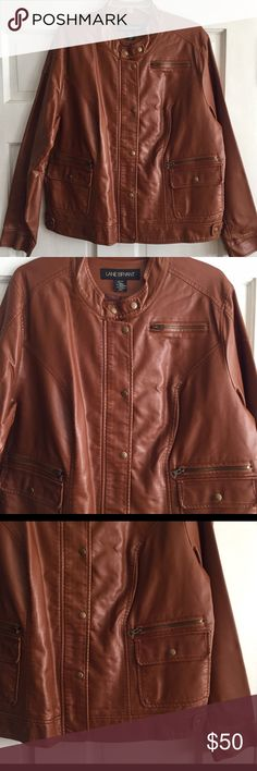 Faux Leather Jacket LANE BRYANT / Faux Leather Jacket US Size 22/24 - Brown faux leather  - Antique Gold Zippers & Snaps - Button tab neckline - zip front with button flap closure - 5 front pockets  - Fully lined  - 100% Polyurethane - Lining 100% Polyester *No stretch  ✅ Worn once  ✅ NO trades / NO low-balling ✅ List price is fair and highly discounted✌️ Lane Bryant Jackets & Coats