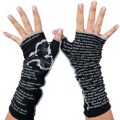 A page from Bram Stoker's Dracula on super soft fingerless gloves. Stay warm and well read with Storiarts Writing Gloves!