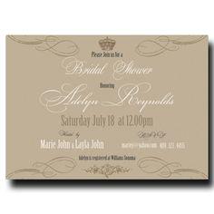 Beige Bridal Shower Invitation - Royal Bridal shower Invitation, Crown Bridal shower, Printable Invitation