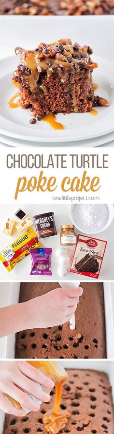 This chocolate turtle poke cake is AMAZING! Delicious and ooey-gooey just loaded with caramel, pecans, and chocolate chips. So yummy and so easy to make! (Chocolate Muffins With Cake Mix) Turtle Poke Cake Recipe, Poke Cake Recipes, Poke Cakes, Cookie Recipes, Dessert Recipes, Yummy Recipes, Layer Cakes, Pie Recipes, Dinner Recipes