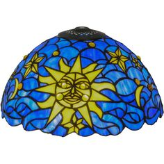 """12 Inch W Sun Moon & Stars Shade. 12 Inch W Sun, Moon & Stars Shade Theme:  TIFFANY ARTS & CRAFTS ART GLASS RECREATION Product Family:  Sun, Moon & Stars Product Type:  SHADE ONLY Product Application:  copper foil Color:  VADK IA YELLOW Bulb Type:  Bulb Quantity:   Bulb Wattage:   Product Dimensions:  6.5H x 12""""""""WPackage Dimensions:  NABoxed Weight:  3 lbsDim Weight:  30 lbsOversized Shipping Reference:  NAIMPORTANT NOTE:  Every Meyda Tiffany item is a unique..."""