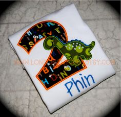 Boys Personalized Dinosaur Birthday Tee T Shirt or Onesie $22