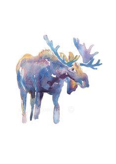 Childrens Art - Animal Painting - A4 11.7x8.3in - Watercolor Painting - Nursery Art Print-  Moose