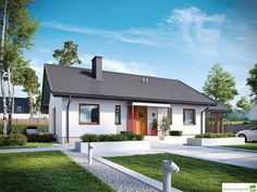 Projekt domu Kornel VI (z wiatą) energo - koszt budowy 165 tys. Bungalow Haus Design, House Design, Style At Home, House Front, My House, Tiny House Loft, Bamboo House, Facade House, Home Fashion