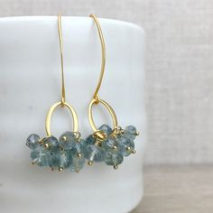 Aquamarine Earrings, Moss Aquamarine Cluster Jewelry, Gold Vermeil Oval and Ear Wire, Birthstone Jewelry, Item E1042 by AUREATA on Etsy