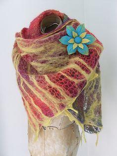 Rainbow Summer Shawl and Flower Brooch by fibrespace, via Flickr