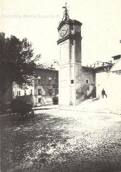 Via Veneto COL campanile della chiesa dei cappuccini demolito nel 1880 con la rampa di accesso per facilitare il traffico