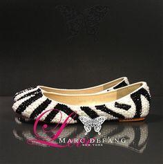 Crystals/Pearl Zebra printed Luxury Flats