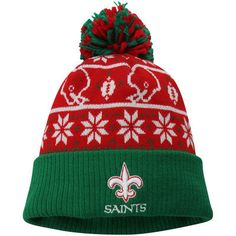 17c787c8495 Men s New Orleans Saints New Era Red Green Sweater Chill Cuffed Knit Hat  with Pom