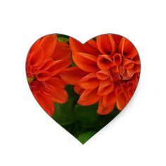 Red Dahlia Heart Stickers from Zazzle.com $7.45/sheet of 20