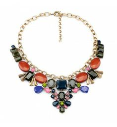 $27.99 Red and Blue Alloy flower diamond necklace!