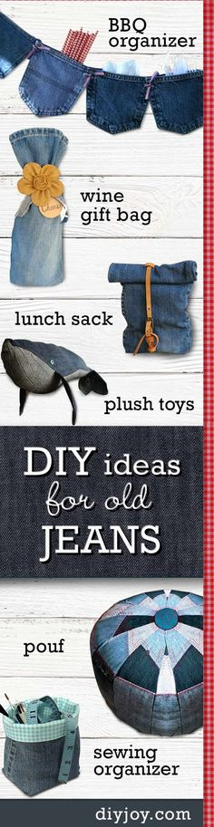 DIY ideas for old jeans - Upcycling Projects with Denim | Cute Crafts and Creative Home Decor by DIY JOY http://diyjoy.com/upcycled-diy-projects-from-old-jeans