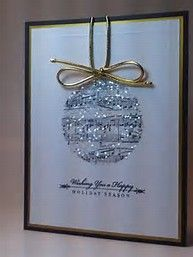Sheet Music Ornament Christmas Card