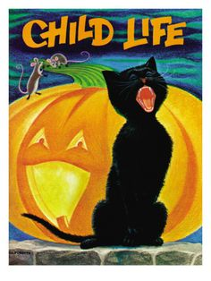 """""""Child Life"""" magazine cover, October 1971 (by Dorothy Forsyth) Halloween Quilts, Halloween Quilt Patterns, Halloween Books, Halloween Items, Halloween Cat, Holidays Halloween, Vintage Halloween, Halloween Illustration, Children's Book Illustration"""