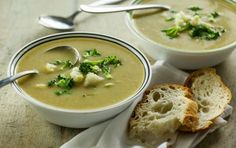 This full-flavored soup uses potatoes and sourdough bread for creaminess without adding dairy. If desired, top with homemade sourdough croutons or finely chopped raw broccoli and cauliflower.