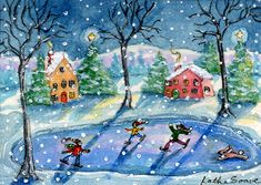 'Ice Skating' winter snow art by Kathe Soave