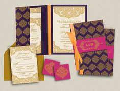Indian Wedding Invitations: Contemporary Jewels - Purple and Gold motif pocket with ivory inserts - Belly Bands and Ribbons optional