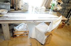 Use old reclaimed barn wood for this table, to keep with the vintage style
