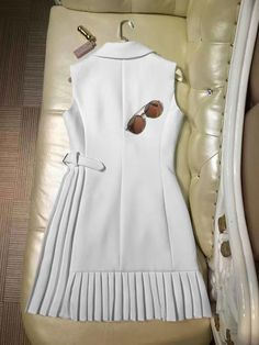 Notched Collar Pleated Wrap Dress