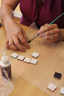 making glass tile necklaces ***Items available at OLGA*** Glass Tile Pendant, Glass Pendants, Glass Tiles, Glass Magnets, Making Glass, Tile Crafts, Necklace Tutorial, Camping Crafts, Bijoux Diy