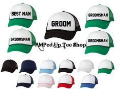 Groomsmen Trucker Hats, Groom Shirt, Groomsmen Hats, Bridal Party Hats, Bachelor Party Shirts, Wedding Hats by AMPedUpTeeShop on Etsy