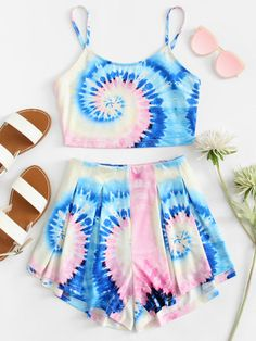tie dye crop cami and shorts set. Cute Lazy Outfits, Kids Outfits Girls, Teenager Outfits, Pretty Outfits, Cute Pajama Sets, Cute Pjs, Girls Fashion Clothes, Teen Fashion Outfits, Cute Sleepwear