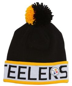 76f1853780e753 Mitchell & Ness Pittsburgh Steelers Beanie w/ Pom + Team Pin and Lanyard