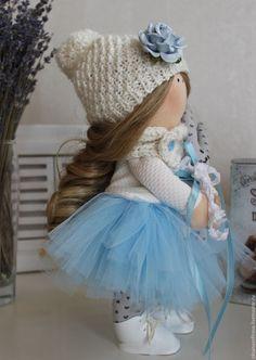 Купить Кукла Текстильная Интерьерная - голубой, кукла ручной работы, кукла в подарок, кукла интерьерная