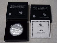 2010 P US Mint America The Beautiful  Mt Hood 5 Ounce .999 Silver Coin Box & COA