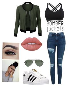 """""""Untitled #66"""" by luvbaeforever ❤ liked on Polyvore featuring Topshop, LE3NO, adidas, Lime Crime, Ray-Ban and bomberjackets"""