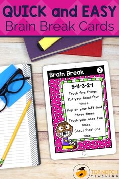 We know the importance of brain breaks to help students focus and learn. Don't waste time looking for fun and effective brain break activities. Just use these printable Brain Break Cards and fill your teacher bag of tricks with brain breaks your students will love. These 60 brain break activities were designed to help students take a short mental break, regain focus, and re-energize to get them back on track for learning. The perfect addition to any classroom management system! Comprehension Strategies, Teaching Strategies, Teaching Tips, Teaching Reading, Learning, Teaching 5th Grade, 2nd Grade Classroom, Teacher Bags, Your Teacher