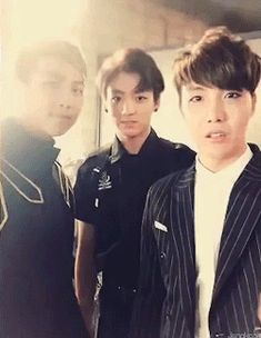 BTS | RAP MONSTER JUNG KOOK and JHOPE. I shouldn't have been surprised at how quickly the gif changed from cute to dorky. What else can we expect from this group? XD