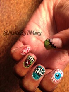 Zombie nail art by timary