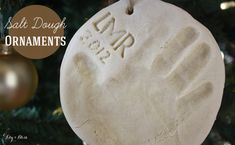 DIY salt dough ornaments. Use cookie cutters, make hand/foot impressions for a sweet keepsake or mark with initial or monogram. This is a fun activity to do with your kid, plus it makes a lovely gift to give this holiday season!