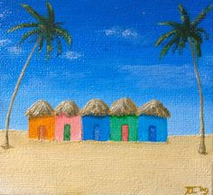 #BeachHuts at Noon 4 x 4 small #canvas #painting by #CastleOnTheHill, $15.00