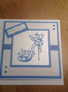 Birthday Card - All essential products for this project can be found on Crafting.co.uk - for all your crafting needs. - Tattered lace glam shoe
