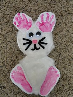 Hand & Footprint bunny for Easter @Katie Hrubec Heidelberg This would be so cute with your kids little hands and feet!
