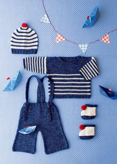 Un ensemble marin en tricot pour bébé // navy set for baby Knitting For Kids, Baby Knitting Patterns, Crochet For Kids, Crochet Baby, Tricot Baby, Nautical Outfits, Toddler Sweater, Baby Couture, Crochet Magazine