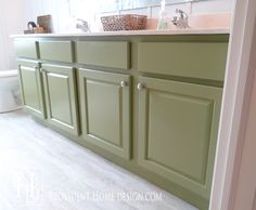 Paint suggested for cabinets: Alkyd Semi-Gloss Enamel (Behr). It basically performs like an oil-based paint but without the horrible smell and difficult clean up. Use high-density foam roller & foam brush.
